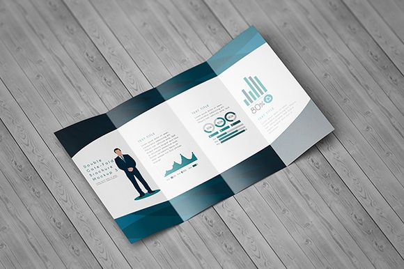Present your advertisement design, company profile and more on - gate fold brochure mockup