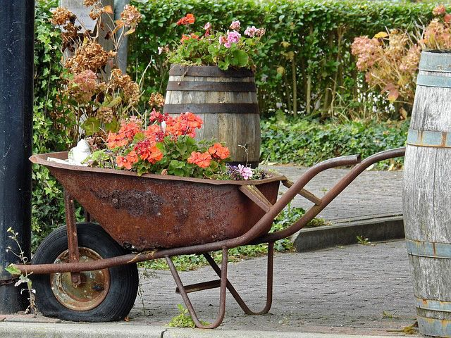 34 Way To Use That Old Wheelbarrow As A Planter Ideas And Pictures Wheelbarrow Garden Wheelbarrow Planter Garden Containers
