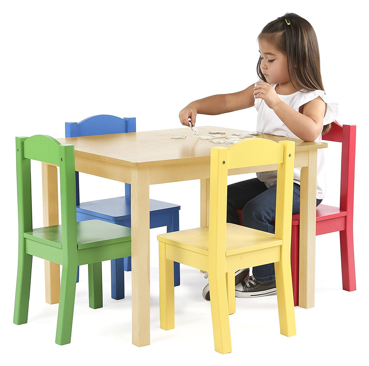Amazon.com: Tot Tutors Kids Wood Table and 4 Chairs Set, Kitchen ...
