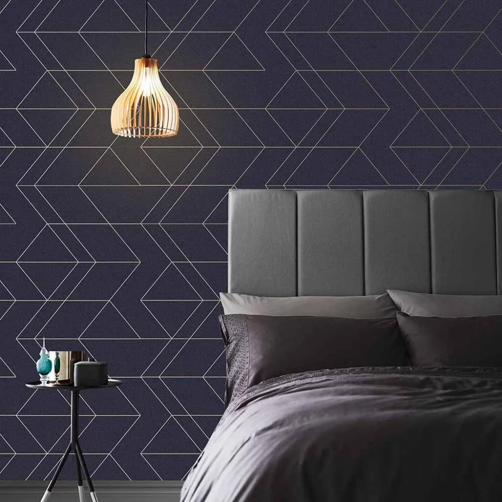 Balance Navy & Gold Wallpaper Blue Wallpaper Graham