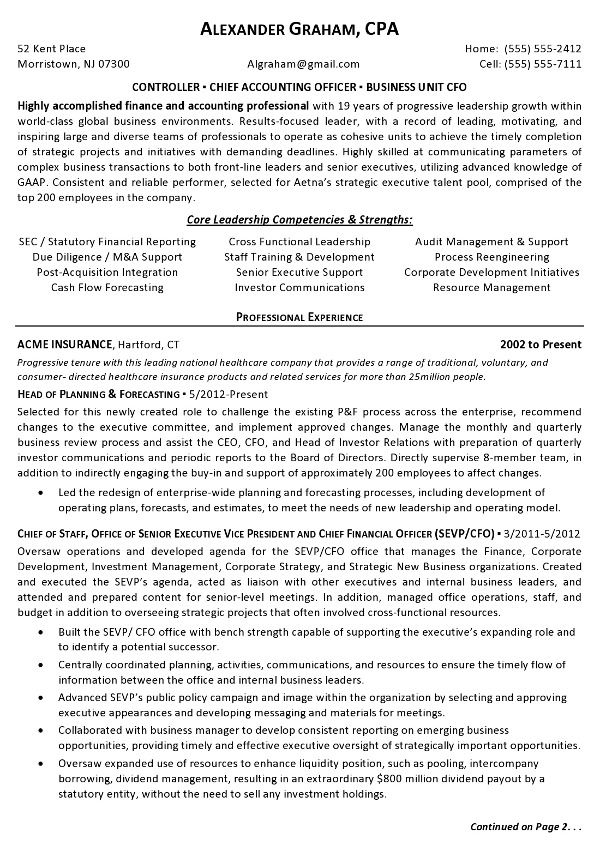 resume sample controller chief accounting officer business - resume objective for accounting