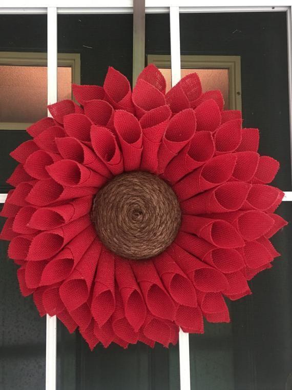 Photo of Red Sunflower Wreath, Red Burlap Wreath Spring Wreath Everyday Wreath Summer Wreath Front Door Wreath, Burlap Flower Wreath, Sunflower Decor