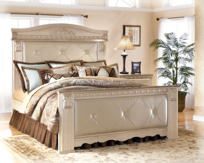 B174 57 Ashley Furniture Silverglade Queen Upholstered Mansion Bed