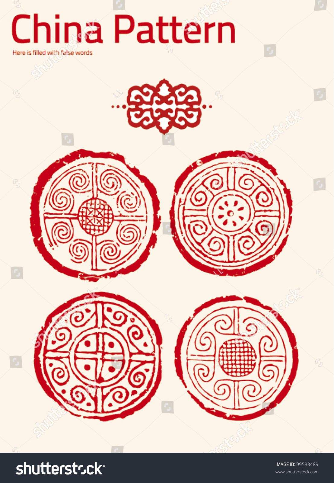 chinese elements pattern flower