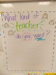 anchor chart to start the year what kind of teacher do you want