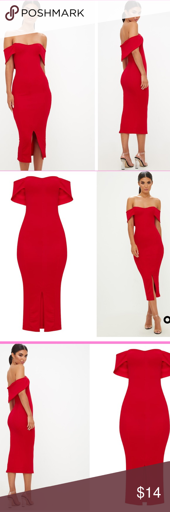 566e59d1a4 Red Longline Bardot Midi Dress Sweetheart neckline .split in front is 10  inches. Polyester  elastane. 14 1 2 inches underarm to underarm.