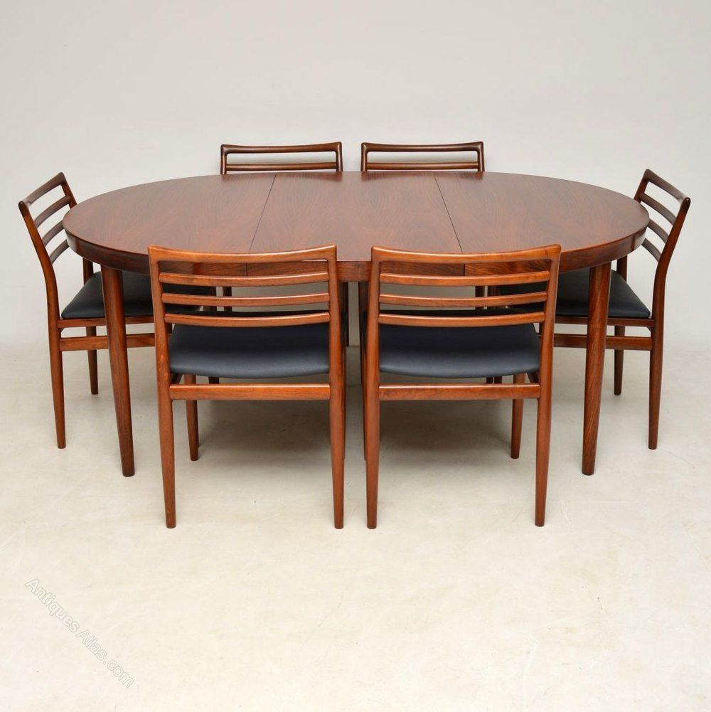 1960 S Danish Rosewood Dining Table 6 Chairs In 2019