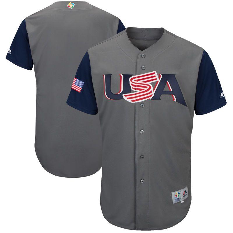 Men's Team USA Baseball Majestic #27 Giancarlo Stanton Gray 2017 World Baseball Classic Stitched Replica Jersey