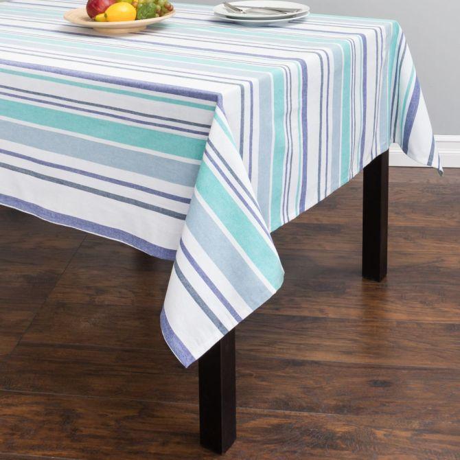 60 X 84 In Barcode Striped Rectangular Cotton Tablecloth Blue Cotton Tablecloths Table Cloth Table Linens
