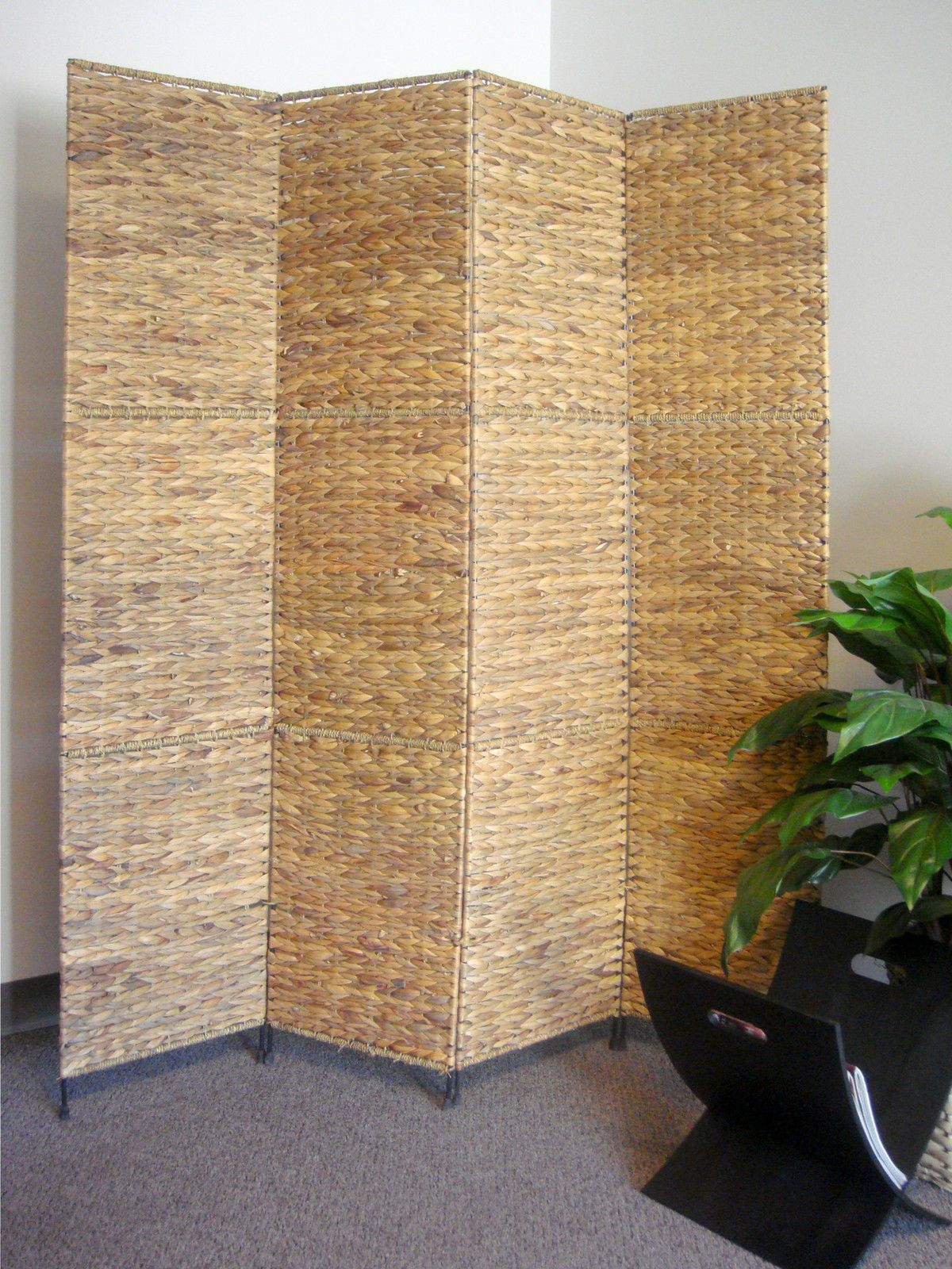 4 Panel Floor Folding Screen Room Divider, Water Hyacinth Panels ...