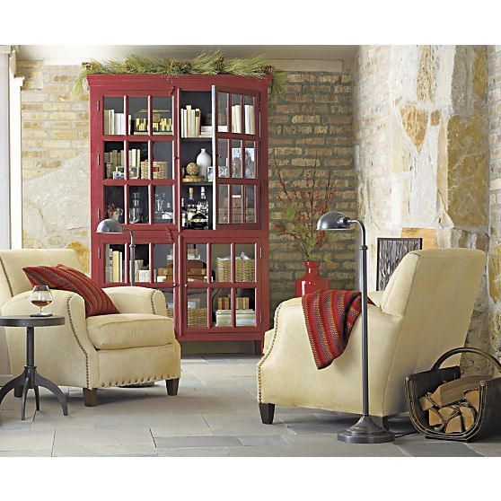 Rojo Red Tall Cabinet  sc 1 st  Mail Cabinet & Crate And Barrel Red Rojo Cabinet | Mail Cabinet