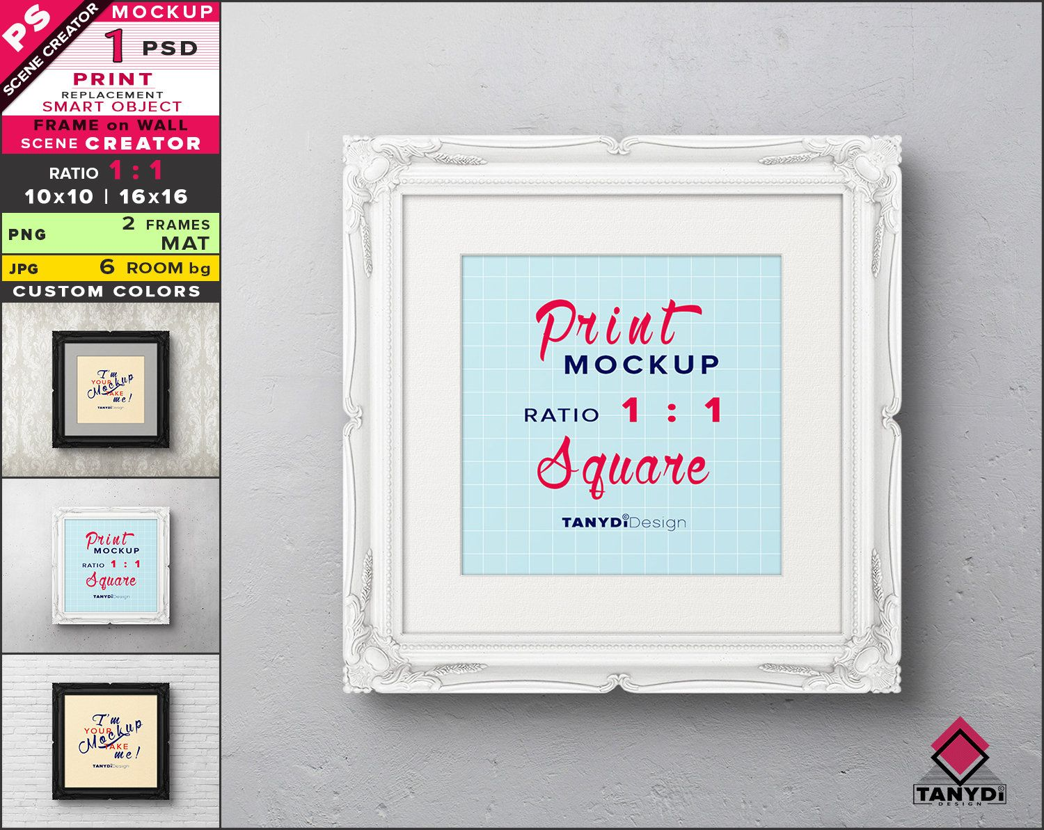 Square Frame On Wall Photoshop Print Mockup Png Black Etsy Square Frames Frames On Wall Print Mockup