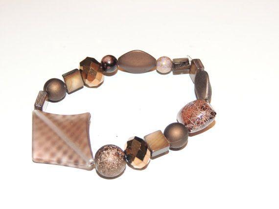 Handmade Brown stretch bracelet. Has lots of by GabiLuBoutique, $20.00