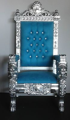 Best Blue Suede On Silver Large Lion Head King Chair Gothic 400 x 300