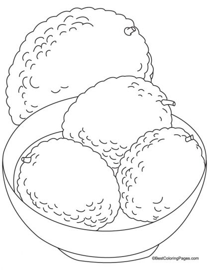 Lychee in a bowl coloring page