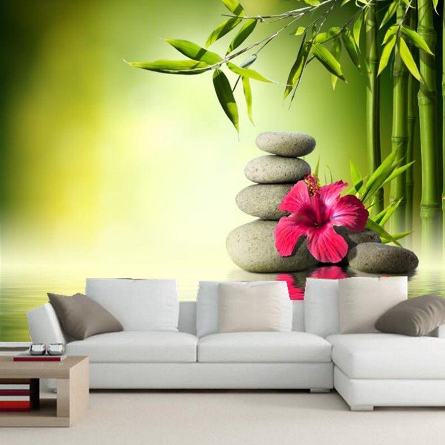 Custom wallpaper for walls 3d,Stones Hibiscus Bambusoideae Spa ...