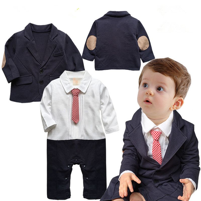 c98ebdaf195 2015 Toddlers baby boy set gentleman Bow ties rompers +Jackets infants 2  pcs suit Birthday party clothing costumes set