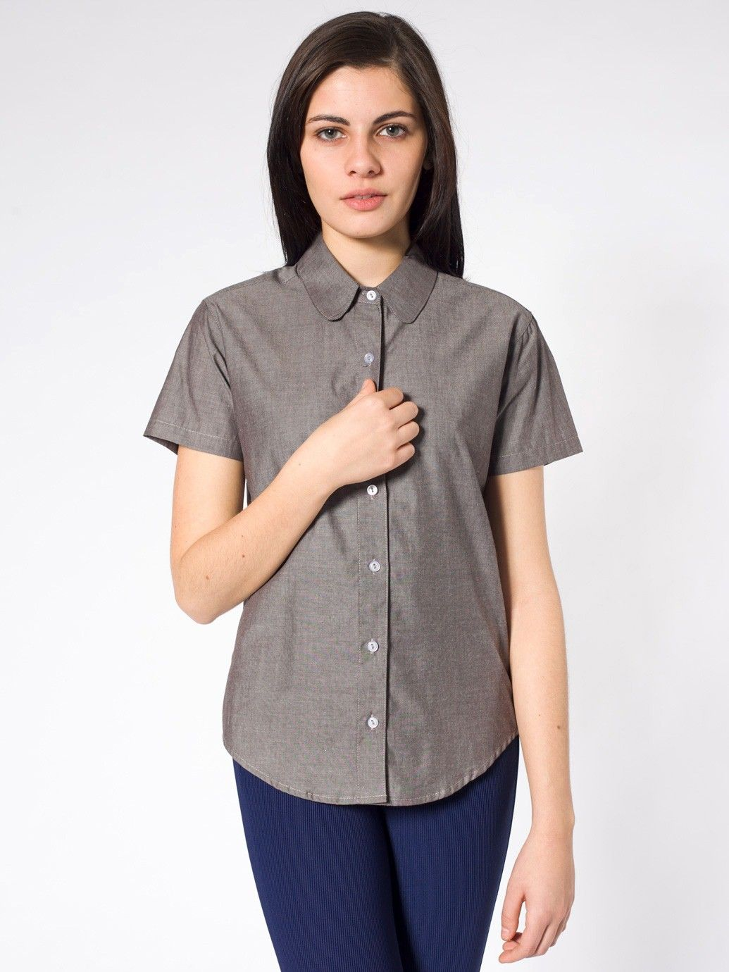 Chambray Round Collar Short Sleeve Button Up Shirt Short Sleeves