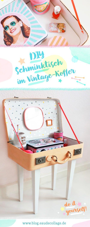 diy koffertisch selber bauen schminktisch aus einem vintage koffer fashion mode n hen. Black Bedroom Furniture Sets. Home Design Ideas