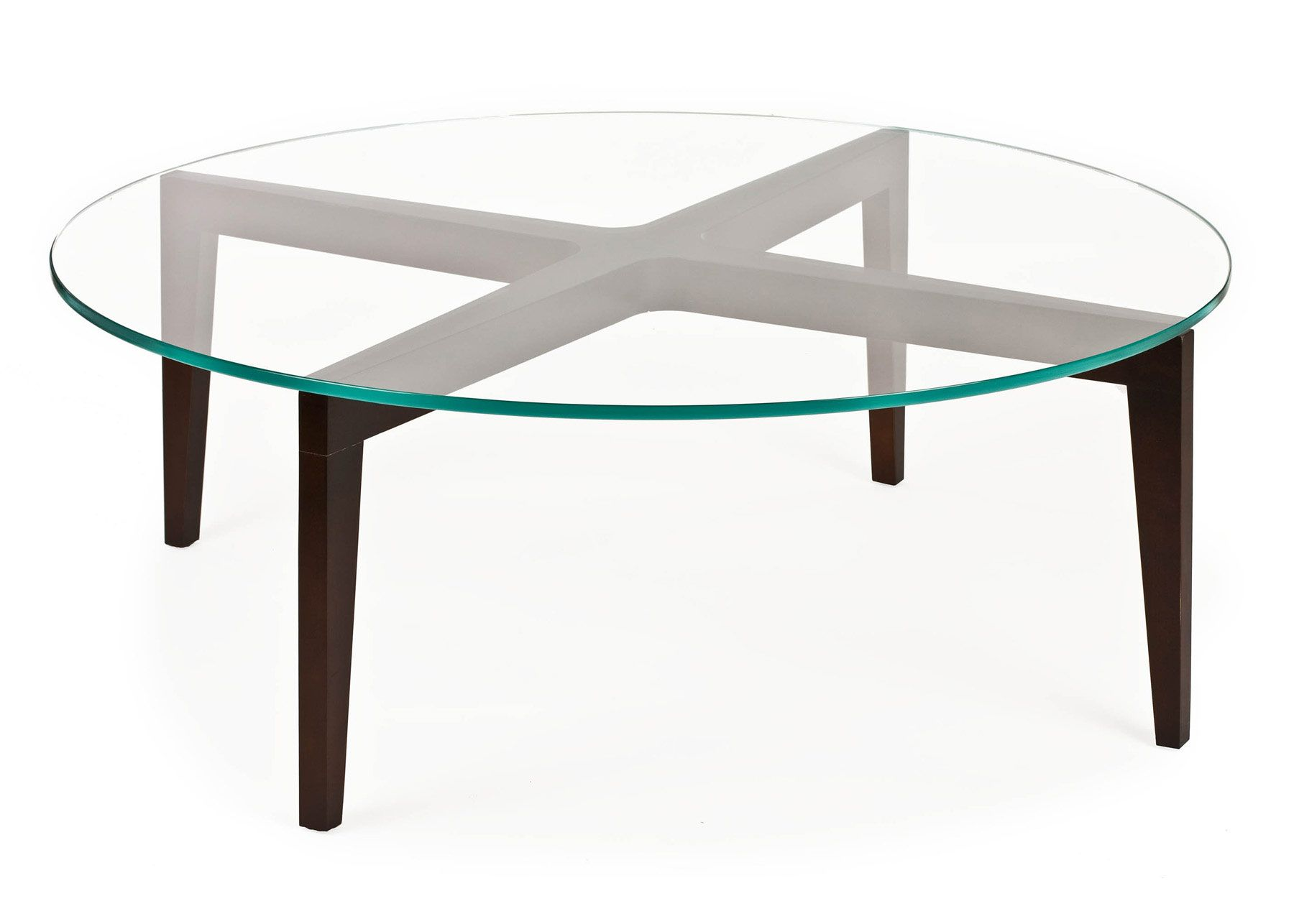 Round Glass Top Coffee Table With Wood Base Coffee Table