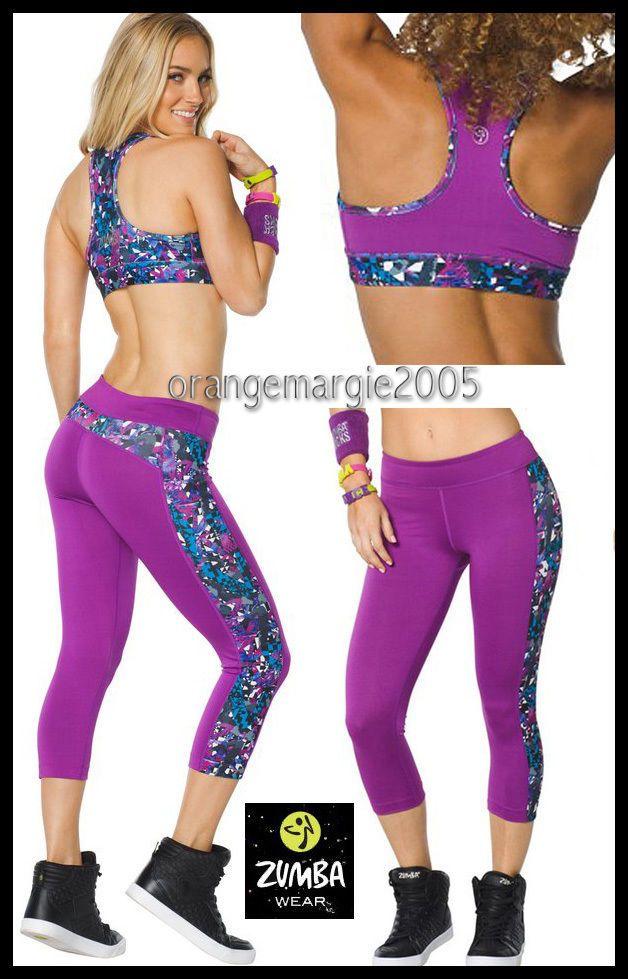 Details About Zumba 2pc Set Mashed Up Reversible Bra Panel Capri Leggings Elitezwear U K Cute Workout Outfits Running Clothes Capri Leggings