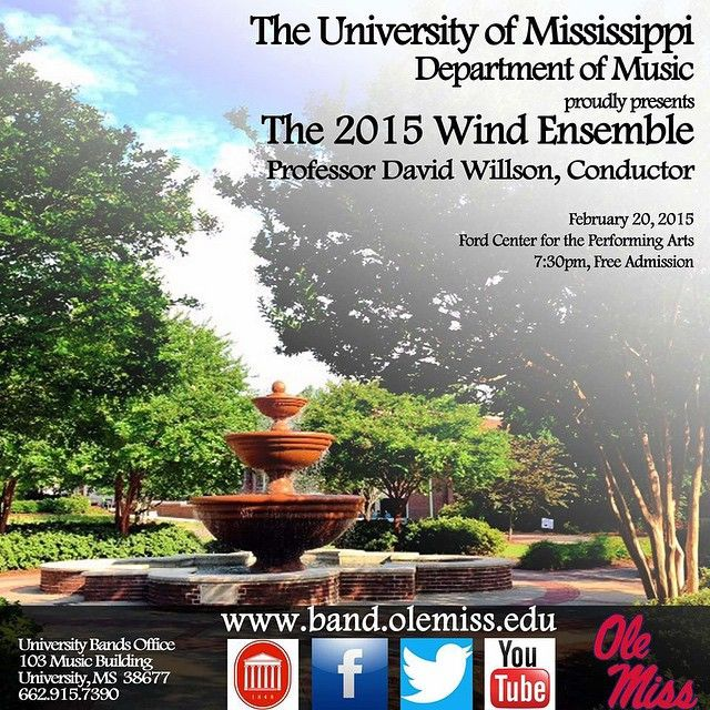 Don't miss our world-class ensemble in concert on Friday February 20th in the Ford Center! #university #oxford #mississippi #ms #knowledge #college #music