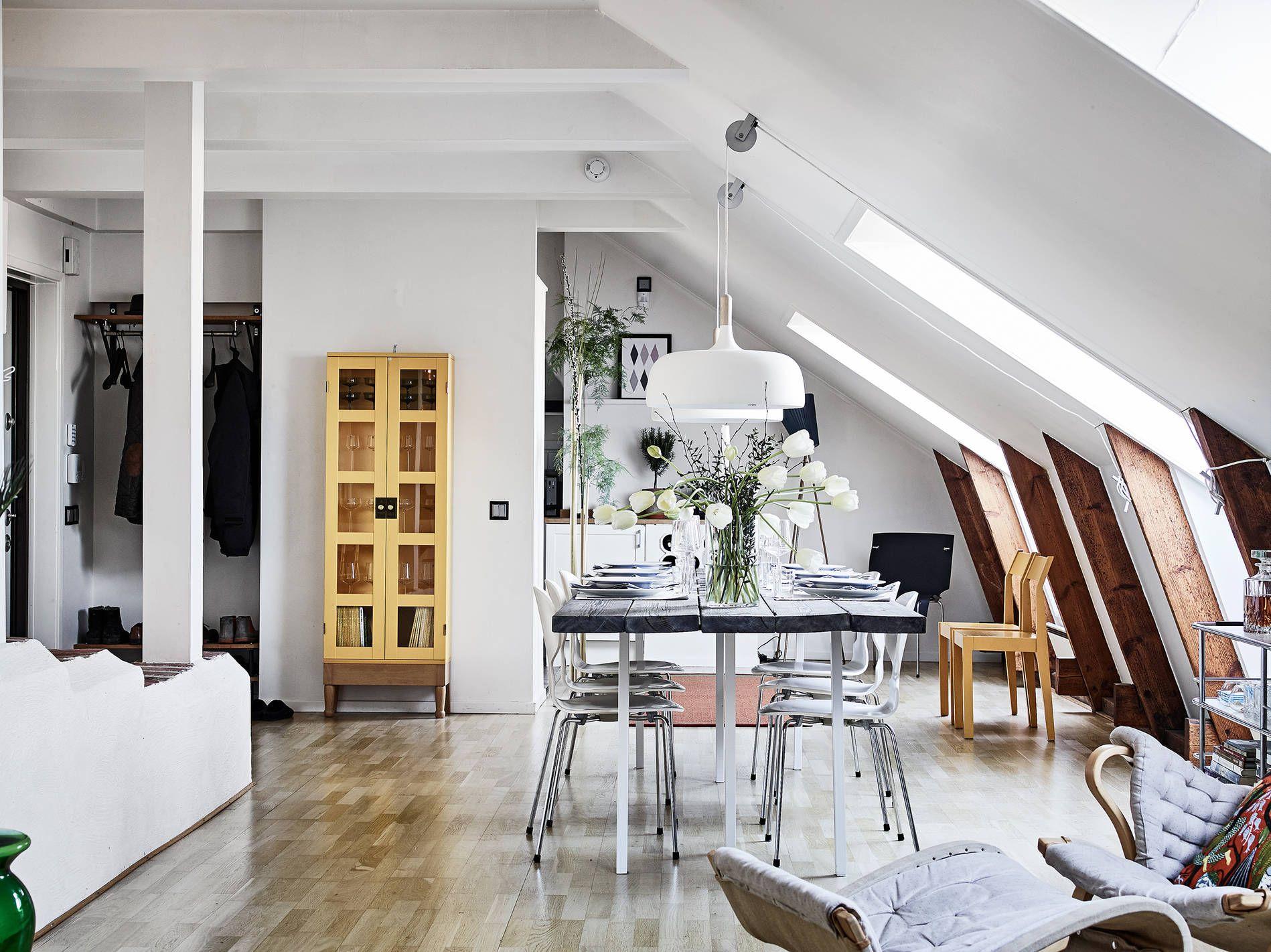 Scandinavian interior design, open plan