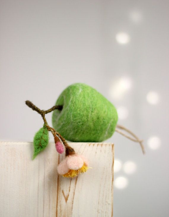 Photo of Needle Felted Green Apple With A Blossom – Apple Ornament – Easter Ornament – Artificial Fruits – Green – Home Decor – Wool – Handmade