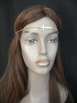 Latest Women Silver Metal Cross Head Band Chain Celebrity Circlet Sexy Jewelry
