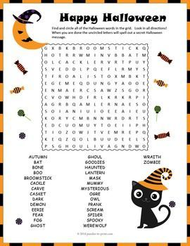 halloween puzzle halloween word search with a secret message a word search puzzle - Halloween Vocab Words