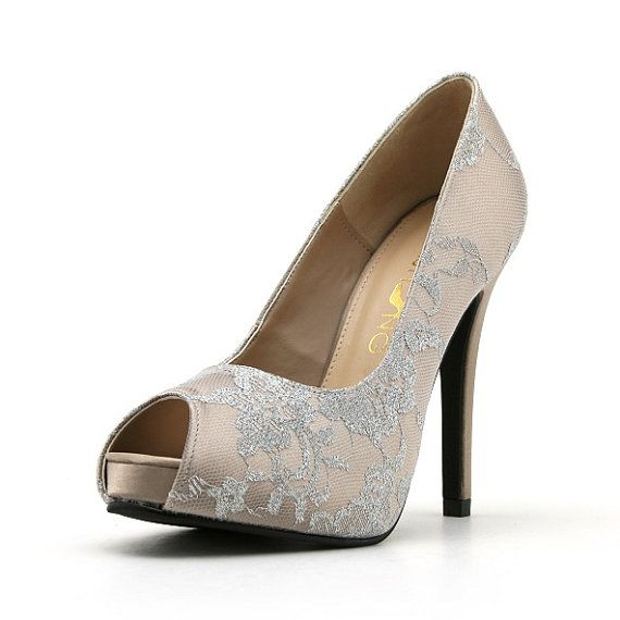 Champagne Lace Wedding Heel Bridal Shoe Satin With