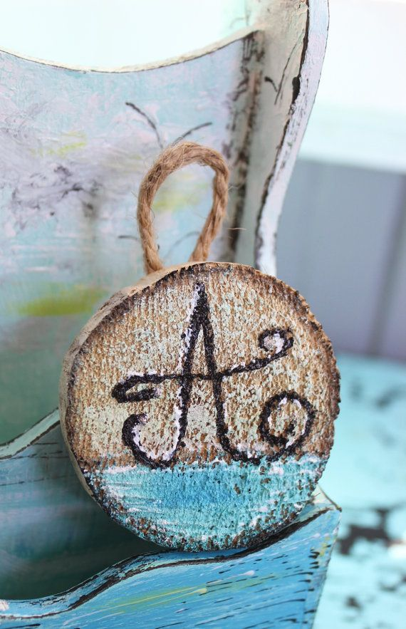 Beach Themed Tree  Personalized Initial Ornament  by ElaLakeDesign #personalizedornament #beachornament #coastalchristmas