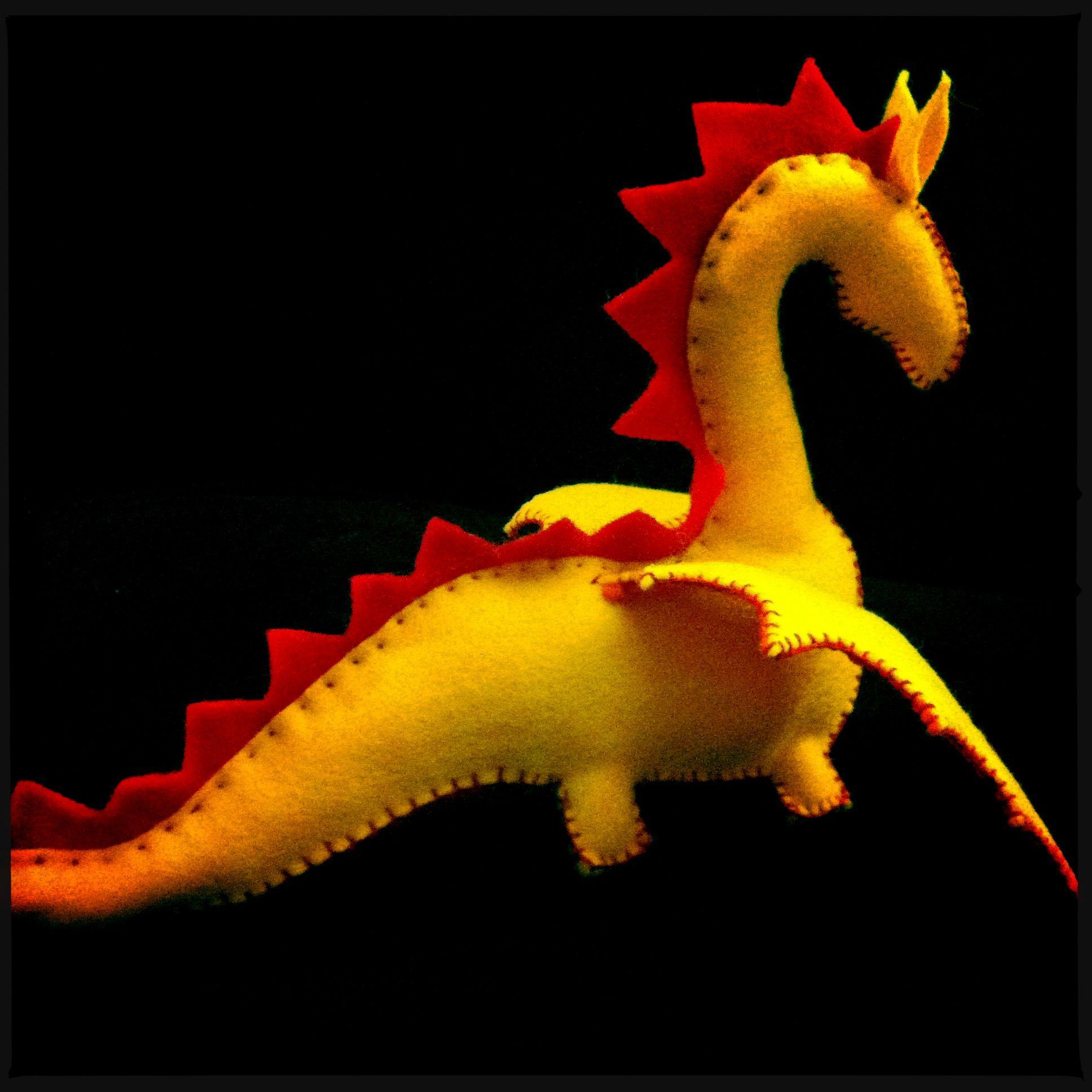 Wool felt dragon, for Henry.  (Shhh, it's a surprise for Thursday, great pumpkin gift, no telling!!!) #feltdragon
