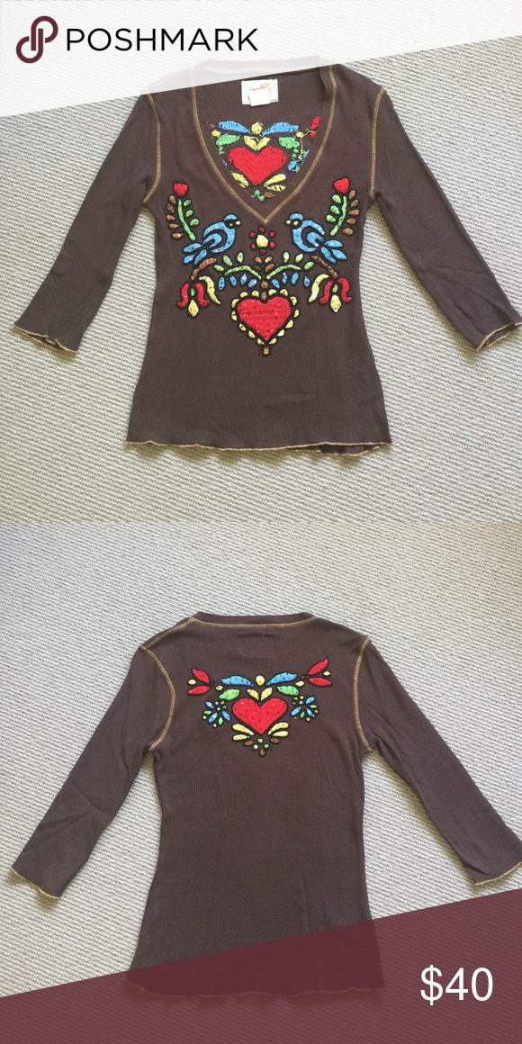 Rock Solid Vintage Tee with 3/4 sleeve Rock Solid Originals Waffle Cotton Tee with yellow accent stitching, embroidery, sequins and beads. Embroidered color's include, red, blue, yellow, green and brown. In perfect  condition, hardly worn. Rock Solid Originals Tops Tees - Long Sleeve