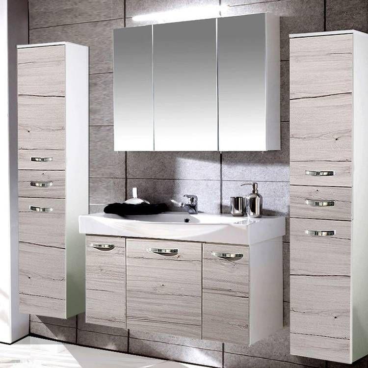 Badezimmer Mobel Set Triest 04 Kalkeiche Weiss Glanz 100cm Waschtisch Spiegelschrank 2 Hochschranke In 2020 Badezimmer Mobel Badezimmer Hochschrank Hochschrank