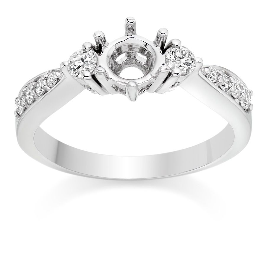 Three Stone Tapered Cathedral Engagement Ring Setting In Platinum On Vashi