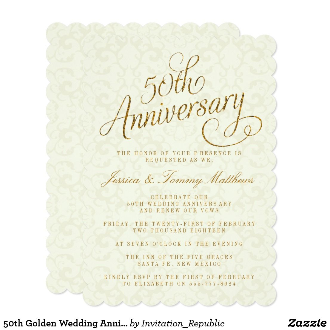 50th Golden Wedding Anniversary Invitations | Pinterest | Golden ...