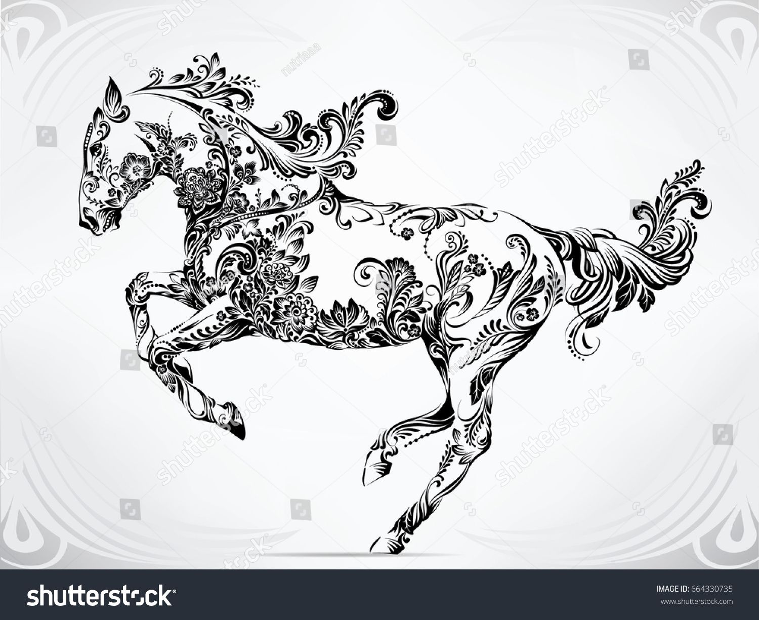 Running Horse In Floral Ornament Horse Tattoo Horse Drawings Celtic Horse Tattoo