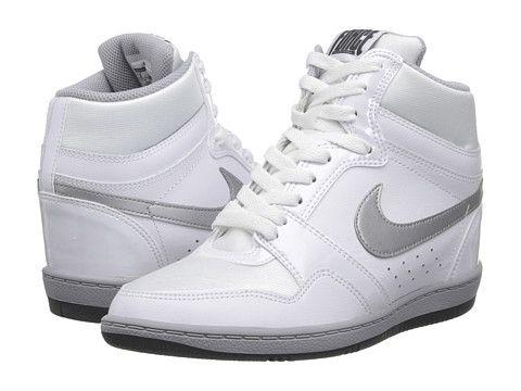 reputable site bc564 1c700 Nike Force Sky High Sneaker Wedge White Metallic Silver Dark Grey - Zappos.com  Free Shipping BOTH Ways