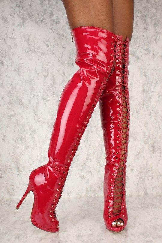 edda48714484 Sexy Red Peep Toe High Heels Thigh High Boots Patent  SexyHighHeels