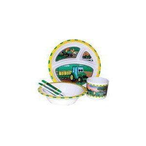 John Deere-Johnny Tractor and Friends 5-Piece Children's Melamine Tableware Set