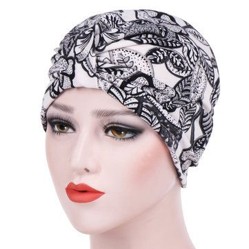 Womens Farmhouse Style Floral Cotton Beanie Hats Casual Flexible Caps  Muslim Headband  cf7a57483b99