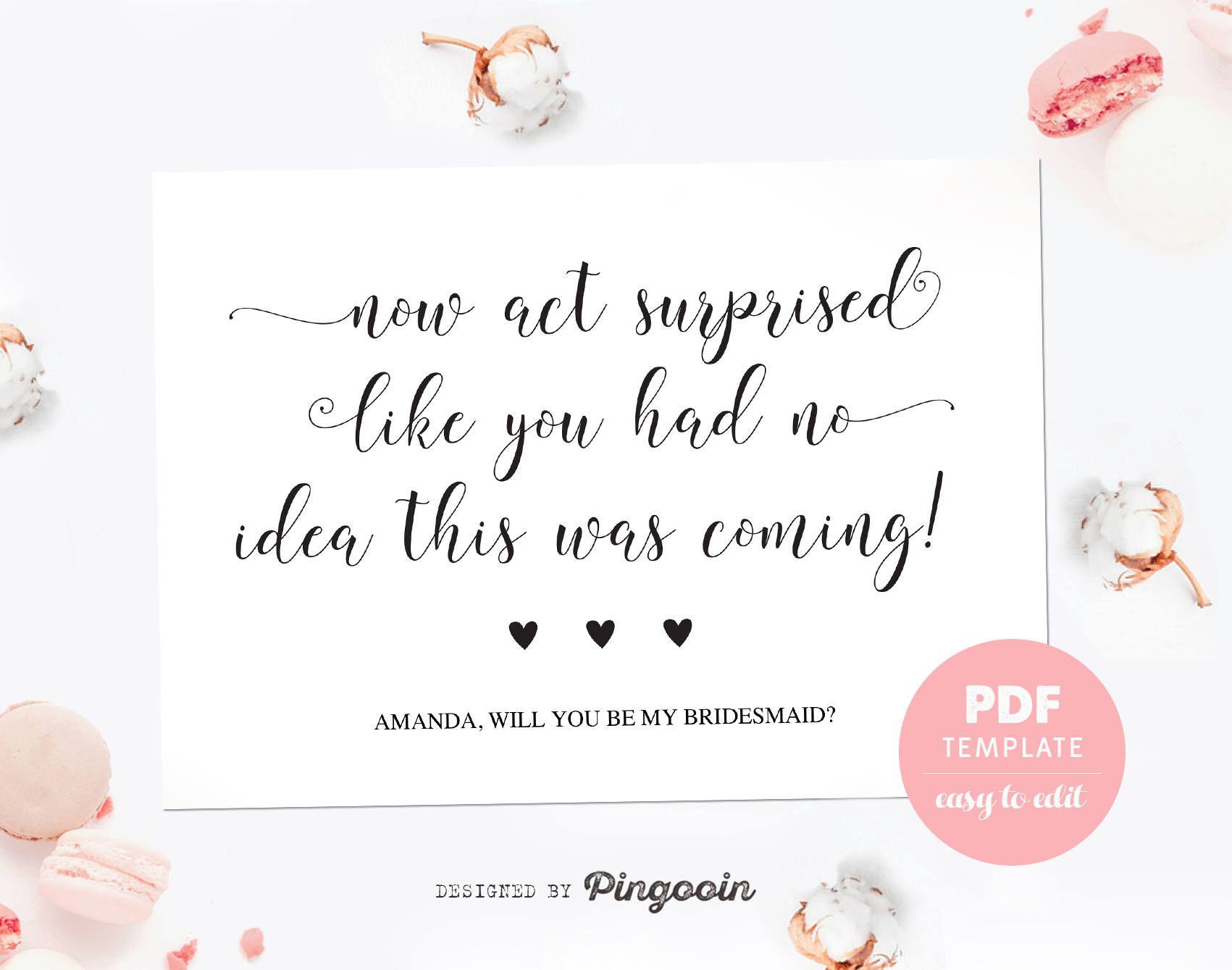 Bridesmaid proposal card funny bridesmaid template card