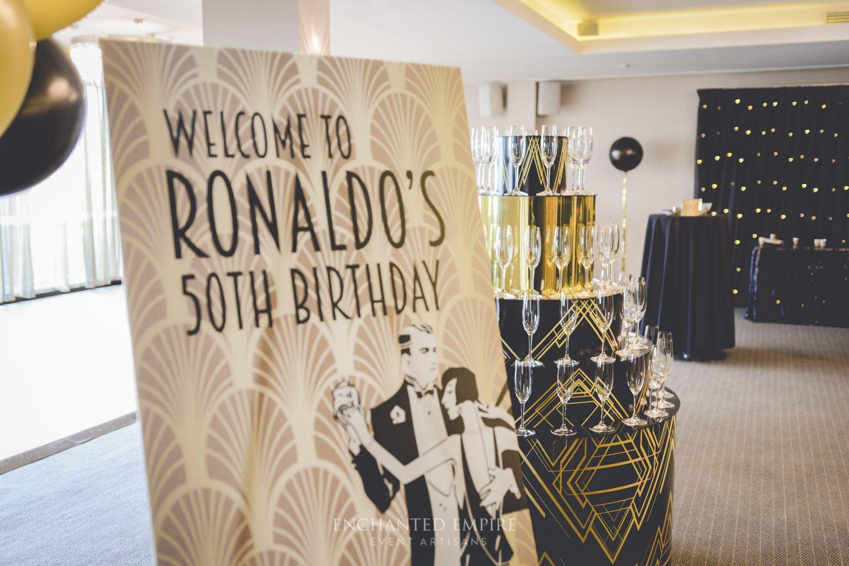 Gatsby 50th Birthday | 50th birthday, Champagne tower ...