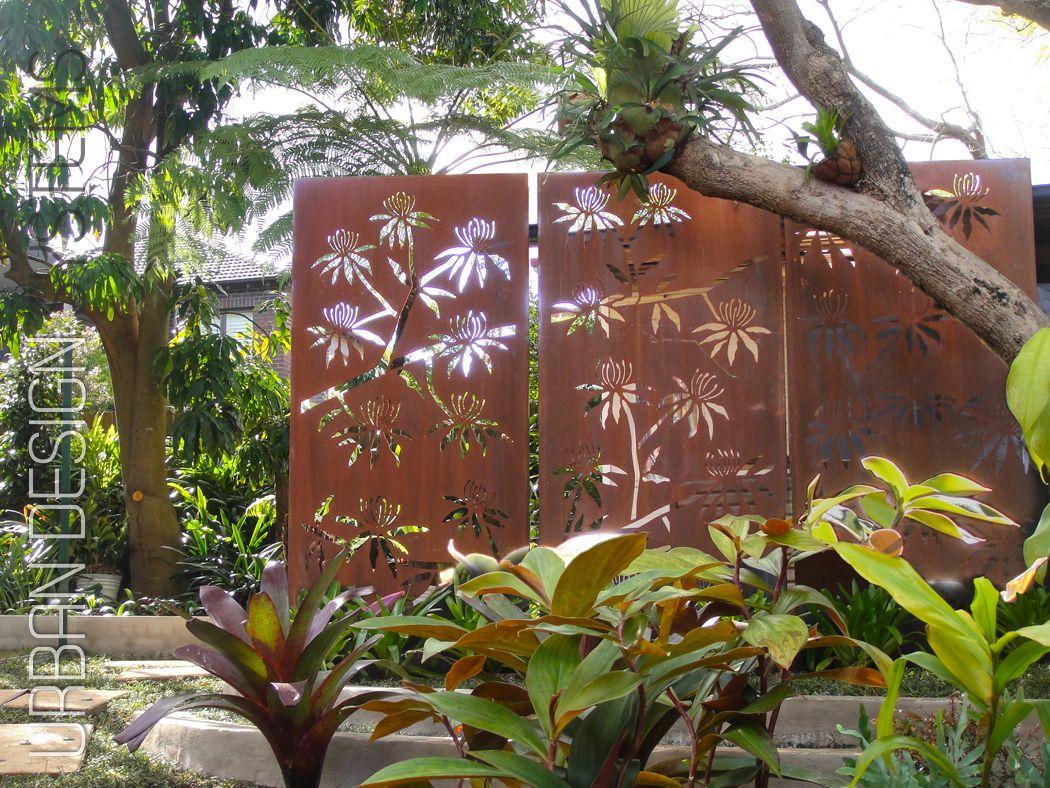 Laser cut screening waratah tree this custom designed for Metal garden privacy screens