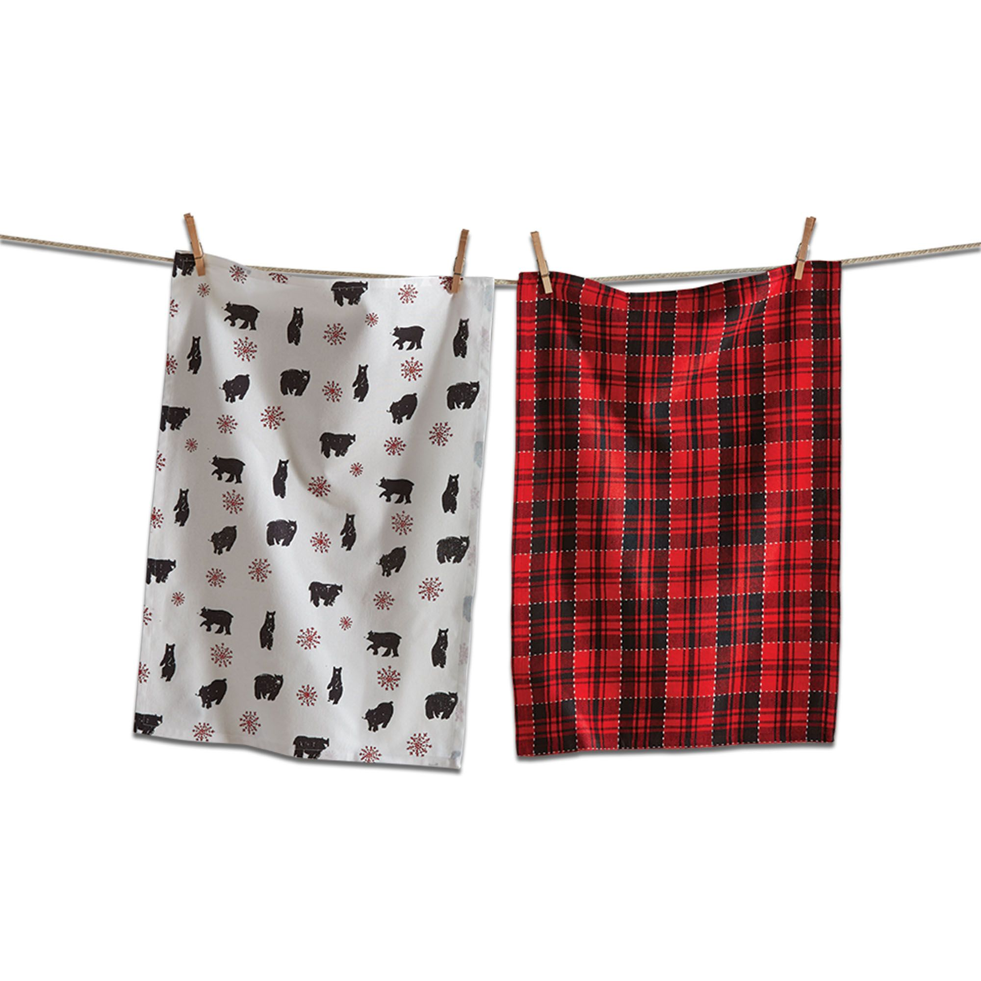 Lodge Bear Dishtowel S 2 Fall Holiday 2019 Black Cotton