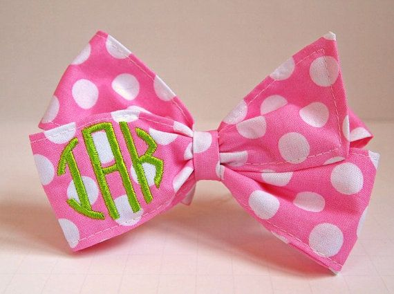 Pink and White Dot Monogrammed Bow
