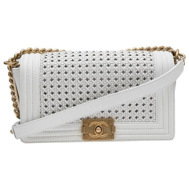 9b9c2157b8274b Collector CHANEL 'Boy' Flap Bag 'Paris Dubaï' in White and Aged Gold  Leather | 1stdibs.com
