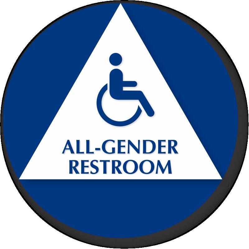 Bathroom Sign Language Symbol all gender restroom braille sign, handicap and toilet symbol, sku