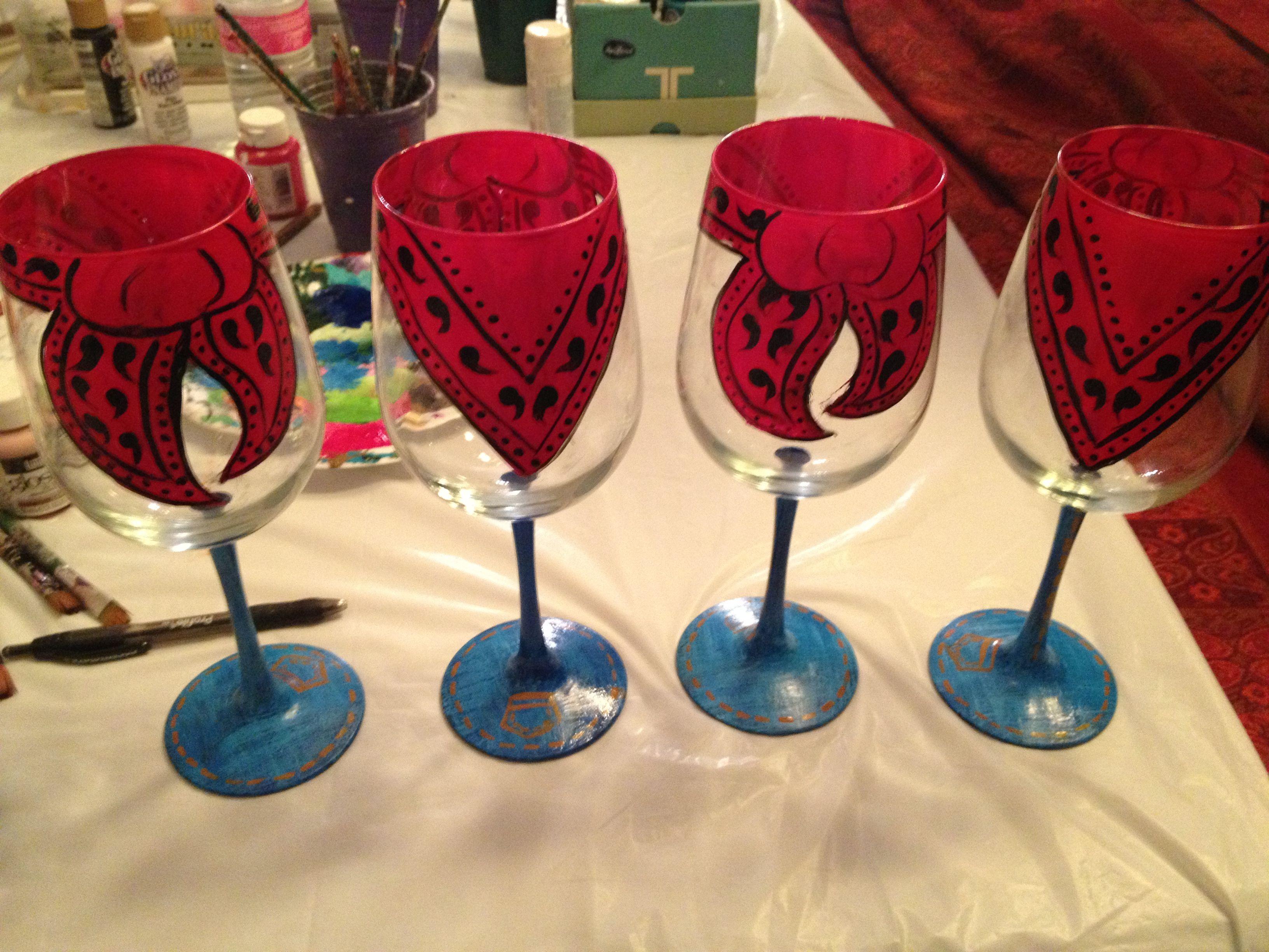 Bandana Wines Painted Glasses Glass Painting Glass